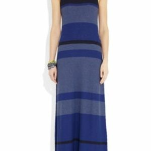 VINCE Striped Knitted Cotton Maxi Dress Blue Navy